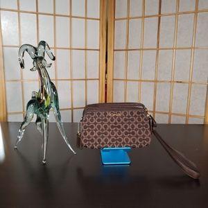 Coach brown wristlet purse